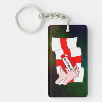 England Rugby Team Supporters Flag With Ball Double-Sided Rectangular Acrylic Key Ring