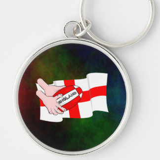 England Rugby Team Supporters Flag With Ball Silver-Colored Round Key Ring