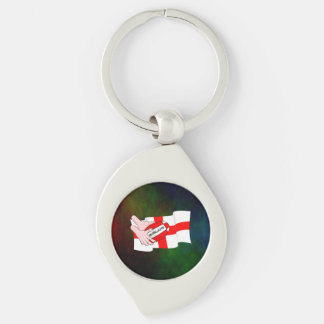 England Rugby Team Supporters Flag With Ball Silver-Colored Swirl Key Ring