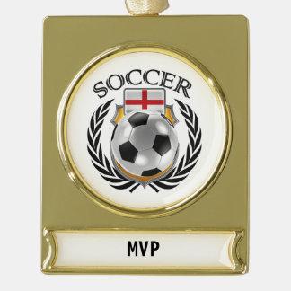 England Soccer 2016 Fan Gear Gold Plated Banner Ornament