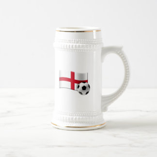 England soccer flag and ball beer stein