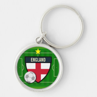 England Soccer Silver-Colored Round Key Ring