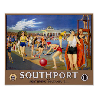 England Southport Restored Vintage Travel Poster