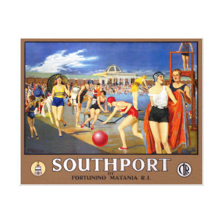England Southport Restored Vintage Travel Poster Canvas Print