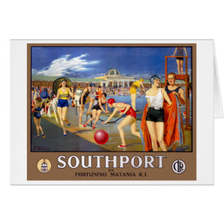 England Southport Restored Vintage Travel Poster Card