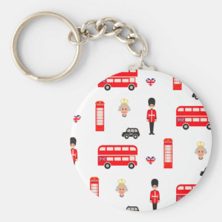 England Symbols Pattern Basic Round Button Key Ring