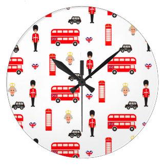 England Symbols Pattern Large Clock