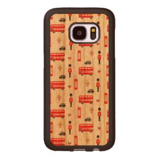 England Symbols Pattern Wood Samsung Galaxy S7 Case