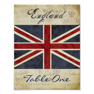 England Table Number Poster