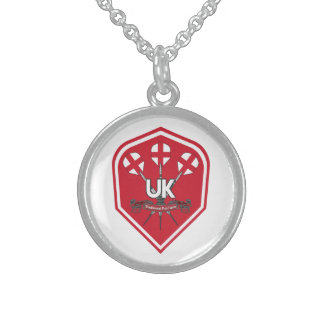 England Traditional Pub Games Sterling Silver Necklace