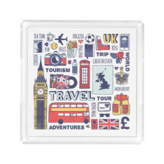 England Travel Doodles Acrylic Tray