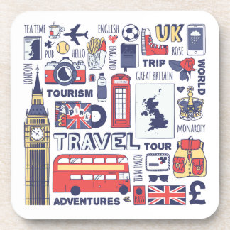 England Travel Doodles Coaster