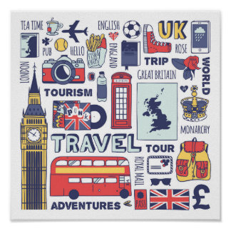 England Travel Doodles Poster