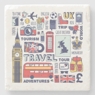 England Travel Doodles Stone Coaster