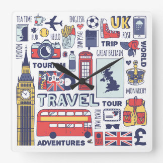 England Travel Doodles Wallclock