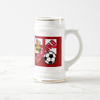 ENGLAND w/CROWN & LION World Soccer Fan Tshirts Beer Stein