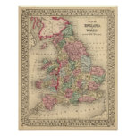 England, Wales Map by Mitchell Poster
