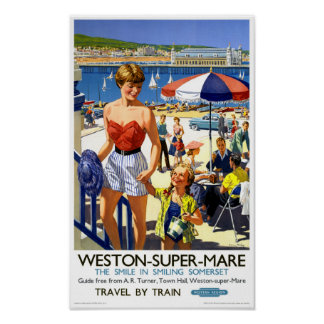 England Weston Super Mare Vintage Travel Poster