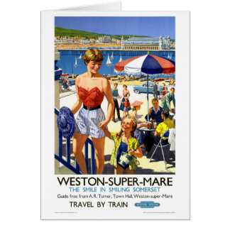 England Weston Super Mare Vintage Travel Poster Card