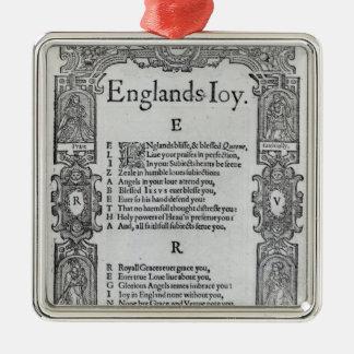 England's Joy by Richard Vennar, c.1602 Metal Ornament