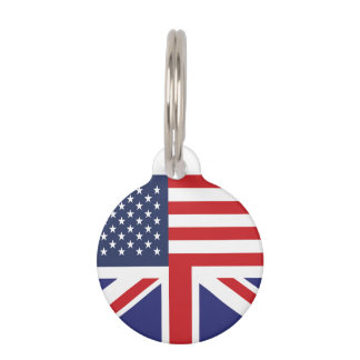 English American Flag 3 Pet ID Tag