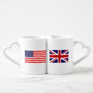 English American flag monogram lovers mug set
