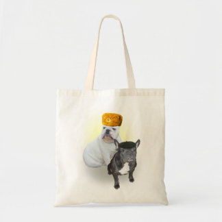 English and French Bulldogs tote bag
