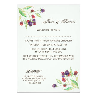 English Blackberries Botanical Wedding Invitation