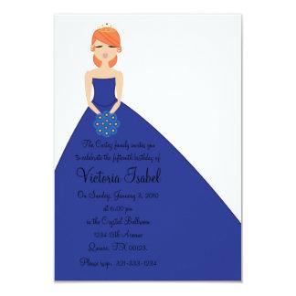 """english BLUE PRINCESS quinceanera invitation 3.5"""" X 5"""" Invitation Card"""
