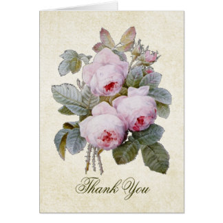 English Bourbon Rose Bouquet Thank You Greeting Card