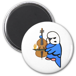 English Budgie Plays Bass Cello 6 Cm Round Magnet