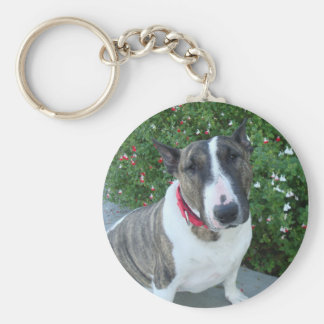 English Bull Terrier Basic Round Button Key Ring