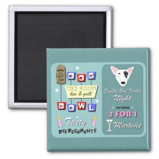 English Bull Terrier Bowling Tiki Night Square Magnet