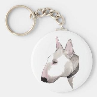 english bull terrier keyring basic round button key ring