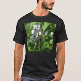 English Bull Terrier Peeking Through the Leaves T-Shirt