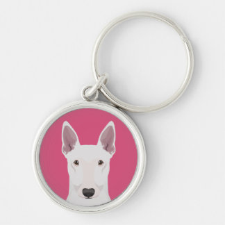English Bull Terrier Silver-Colored Round Key Ring