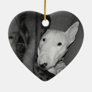 English Bull Terrier Snuggled Under a Blanket -BW Ceramic Ornament