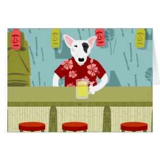 English Bull Terrier Tiki Bar Card