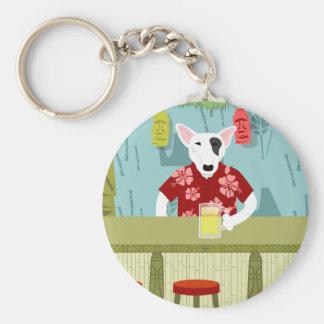 English Bull Terrier Tiki Bar Keychain