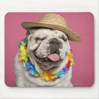 English Bulldog (18 months old) wearing a straw Mouse Pad