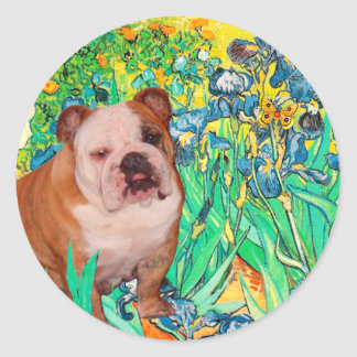 English Bulldog 1 - Irises Classic Round Sticker
