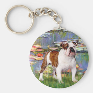 English Bulldog 5 - Lilies Key Ring