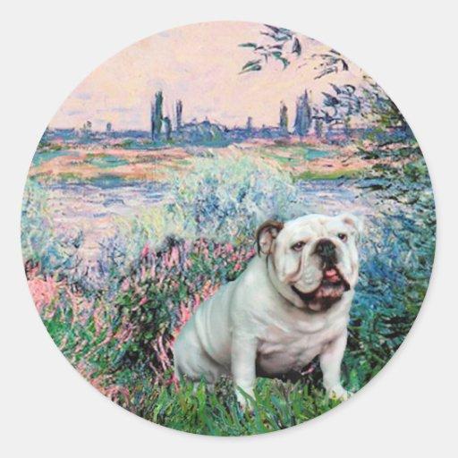 English Bulldog 9 - By the Seine Round Stickers