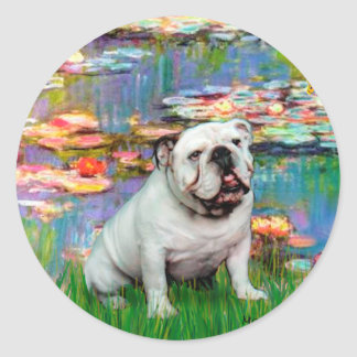 English Bulldog 9 - Lilies 2 Classic Round Sticker