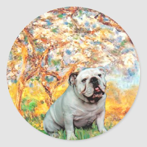 English Bulldog 9 - Spring Round Sticker