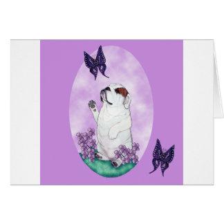 English Bulldog and Butterflies Card