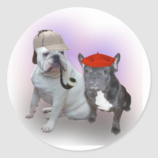 English Bulldog and French Bulldog Round Stickers