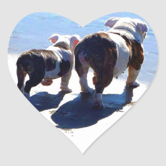 English Bulldog and Puppy Heart Sticker