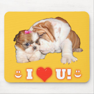 English Bulldog and Shih Tzu I LOVE YOU! Mousepads
