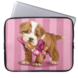 English bulldog and shoe laptop sleeve